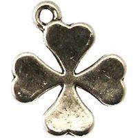 Perles Breloque métal - Trèfle à 4 feuilles - Argenté - M