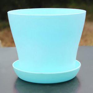 Bleu 10 8 5cm D H Pot De Fleur Avec Soucoupe Rond Achat