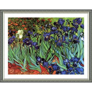 TABLEAU - TOILE Irises Vincent Van Gogh Silver POSTER ENMAILLÉ (Im