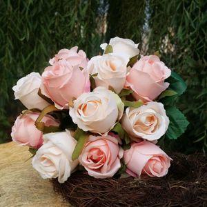 FLEUR ARTIFICIELLE 12 pcs Bouquet de Rose décoration artificielle Fle
