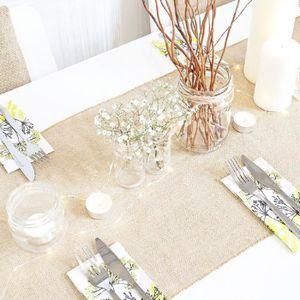 CHEMIN DE TABLE  Chemin de table toile de jute naturelle Mariage B