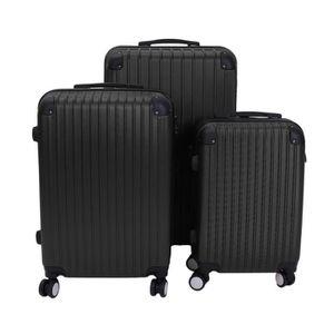 SET DE VALISES LESHP Set de 3 Valises ABS plastique coque Noir