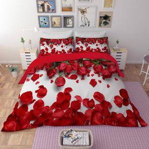 HOUSSE DE COUETTE SEULE Parure de lit roses et pétales rouges romantiques