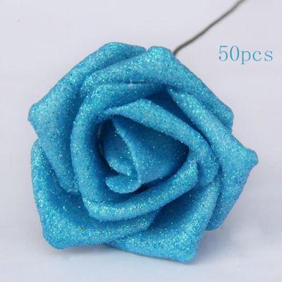 Bleu Bouquet De Fleur Rose Artificielle En Tissu 50pcs Pour Mariage