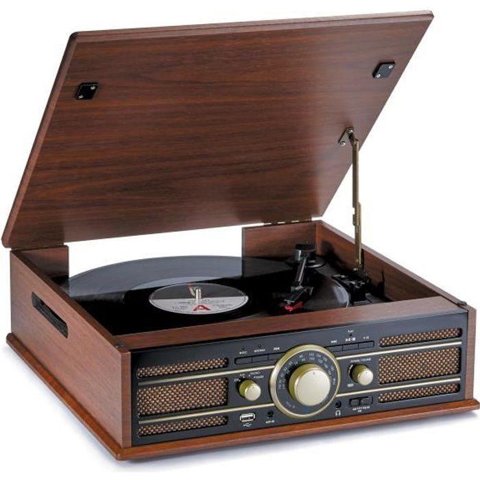 BIGBEN TD103 Tourne Disques 33 / 45 Tours - Radio AM/FM - Port USB - Encodeur (permet d'enregistrer directement vos vinyles sur USB)
