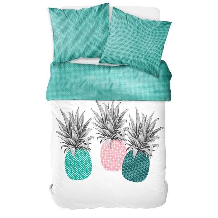 TODAY TROPIK SUMMER Parure de lit Ananas 100% coton - 1 Housse de couette 220 x 240 cm et 2 taies d'oreiller 63 x 63 cm - Vert et ro