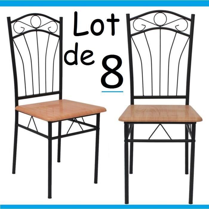 Fer Manger Chaises Et À De Forgé Effet En 8 Métal Bois Table Lot H29IDE