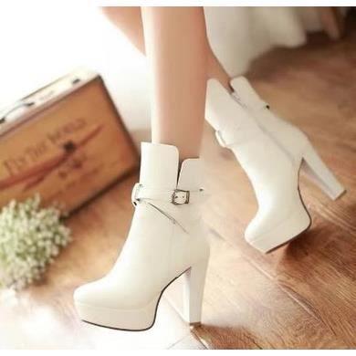 Bottes à talons hauts Femme bottes imperméables femmes bottes simples chaussures de bottes Martin bottes, blanc 35
