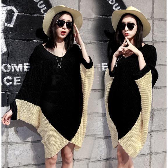 farleen robe pull long femme col v oversize tunique tricot grosses maille manche chauve souris. Black Bedroom Furniture Sets. Home Design Ideas