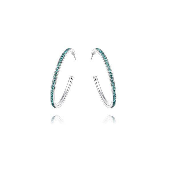 Boucles dOreilles Petites Créoles en Cristal de Swarovski Elements Turquoise