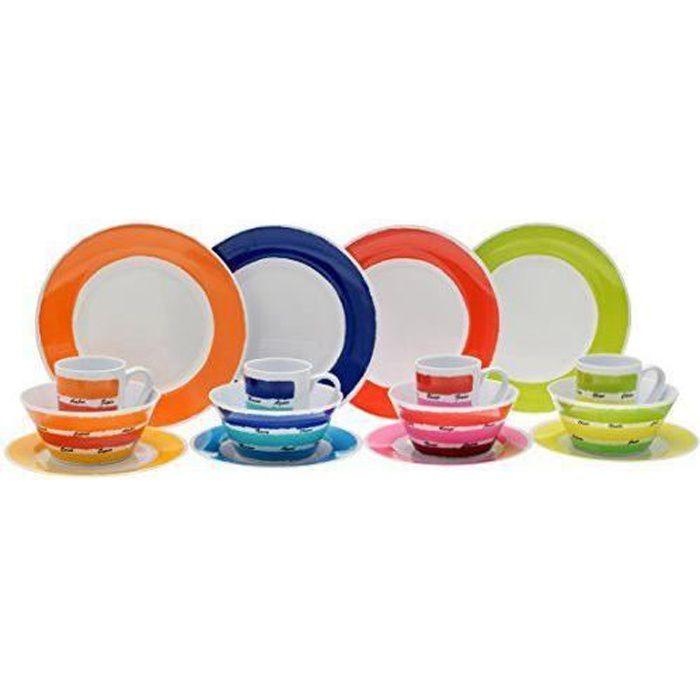 service de table multicolore
