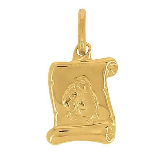 Pendentif Zodiac Parchemin Vierge En Or 18 Carats + Chaîne En Or Offerte