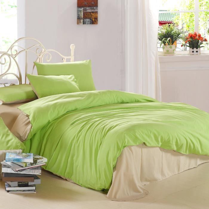 parure de lit vert et kaki 220 240 cm 4 pieces achat vente housse de couette black friday. Black Bedroom Furniture Sets. Home Design Ideas