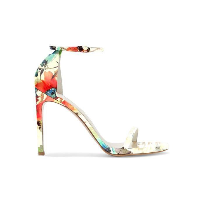 Chaussures femmes cuir, sandales à motifs floraux, talons aiguilles avec bride de cheville Nancy Jayjii.