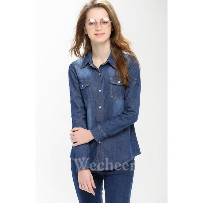 Jean Léger Femme Bleu En Poche Délavé Grande Taille Chemise Avec 8O0wPnk