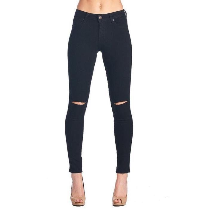 Pantalon skinny en denim déchiré trou aux genoux taille haute coupe droit  crayon amincissant collant stretch Grande Taille-Noir ea45f8a27de