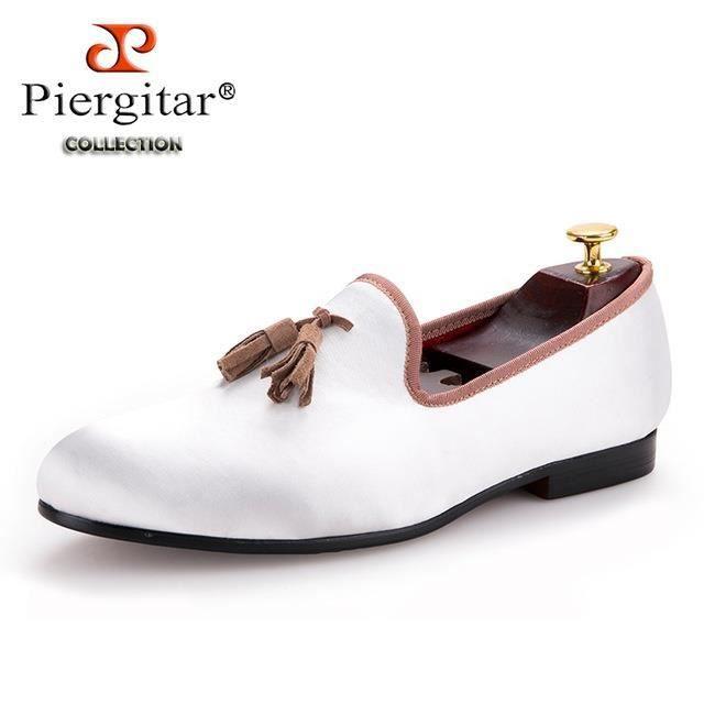 Nouveau blanc pailleté tissu Chaussures avec Brown Tassel Mode main Hommes Mocassins mariage et partie Chaussures Hommes Robe FEnlIK29cd