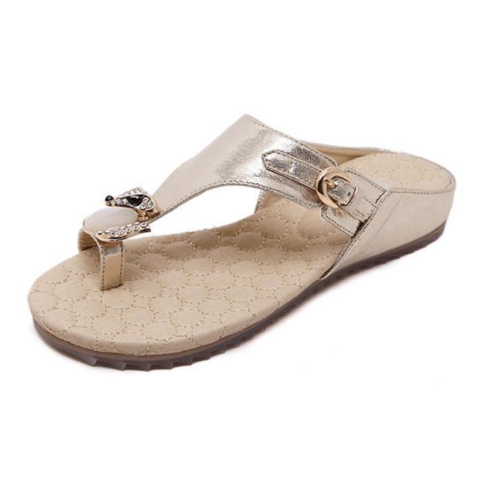 Minetom Femme Strass Tongs Sandales Antidérapant Respirant Bohémien Style Chaussures de Plage d'été Slippers