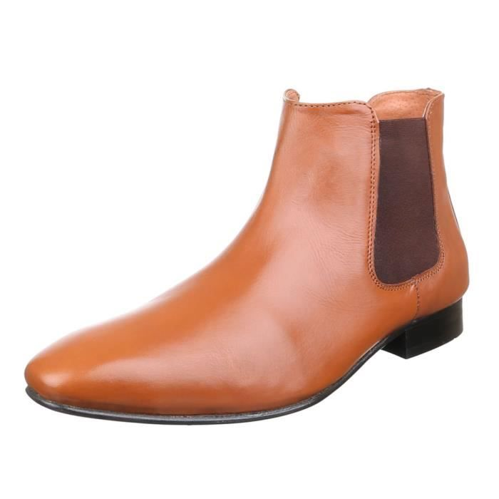 homme chaussures Bottes cuir Chelsea Camel 42