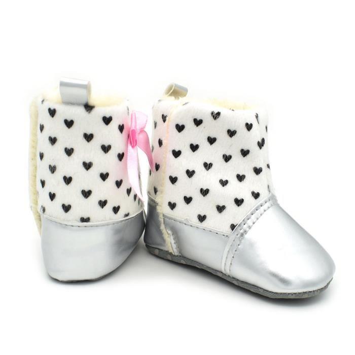 BOTTE Hiver Chaud Bébé Boot Plus Cachemire Bébé Chaussures Fille Bébé Bottes Sport Chaussures@Argent