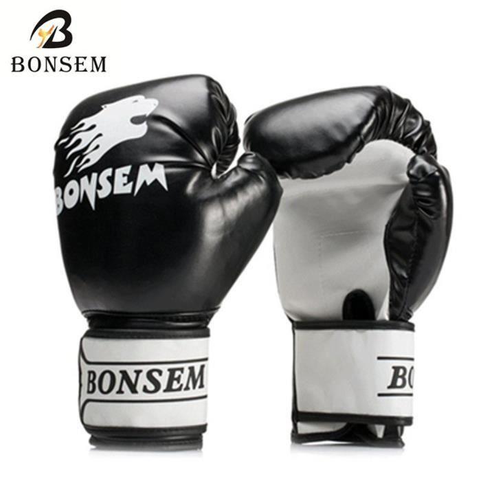 04a273a5bd91 Gants de Boxe Hommes MMA Muay Thai Formation PU respirant Solide Couleur  Muay Thai