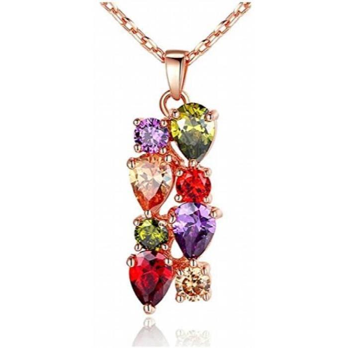 Femmes or rose 18 carats plaqué Aaa Collier suisse Zircon Pendentif boucles doreilles pourKX96O