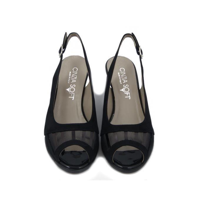 Sandale élégant faux suède et cuir noir brillant, talon 6cm. et semelle antidérapante en caoutchouc, 201856