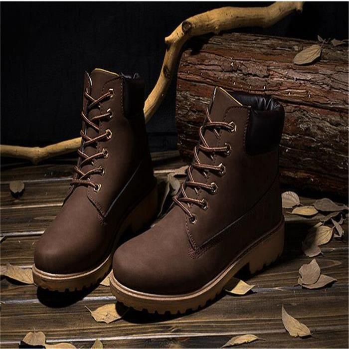 Martin Bottines Femmes Mode Classique Confortable En Cuir Boots BTYS-XZ021Marron38