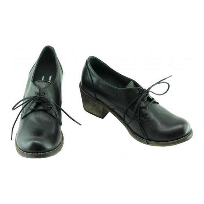 Kandy - Derby à talon marques Yves de Beaumond chaussure luxe Femme petites pointures tailles cuir noir