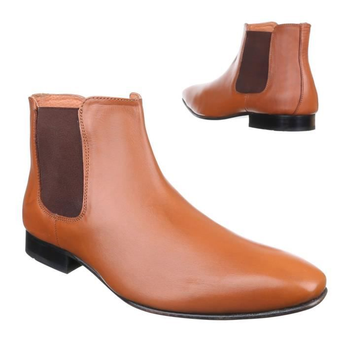 homme chaussures Bottes cuir Chelsea Camel 42 xDnDE