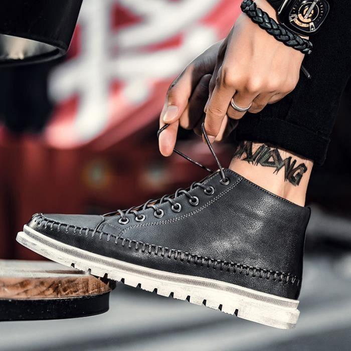 Bottes courtes Chaussures montantes Bottes originaux Chaussures pour l'automne et l'hiver Bottes en cuir Chaussures étanches Bottes