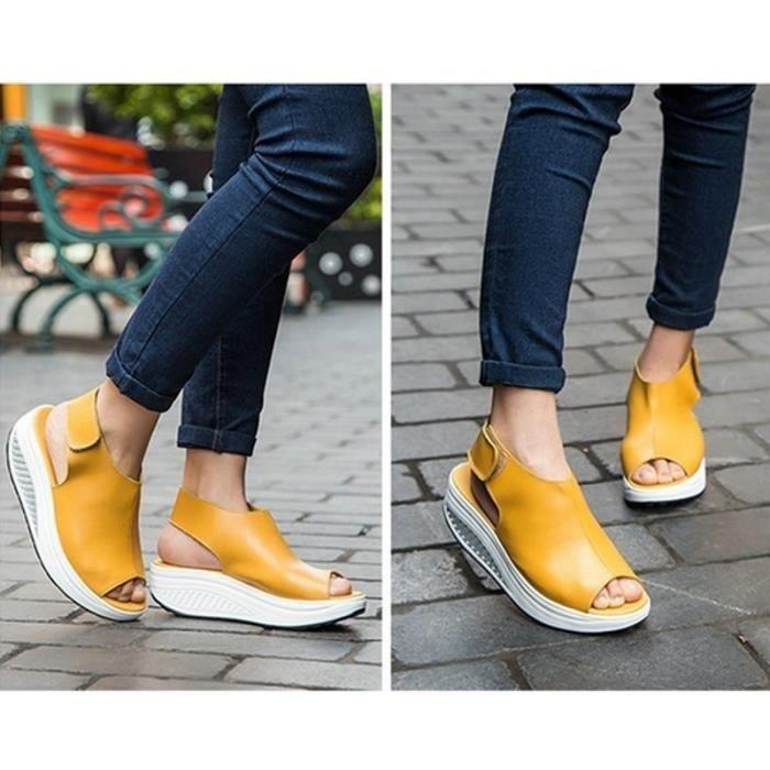 forme D'été Peep En beige 4 Cuir Compensées noir Rouge Toe De Chaussures Plate Sandales Femmes Couleurs Sexy Swing jaune 5wE00U7qx