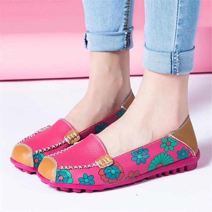 Mocassins Femmes Printemps ete Cuir Chaussures BGD-XZ056Rose38