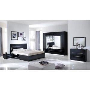 Chambre à coucher modèle CITY LAQUEE NOIRE AVEC ARMOIRE 2 PORTES 200 ...