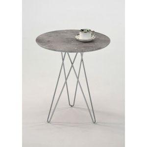 TABLE D'APPOINT TABLE ronde effet béton - Bout de canapé Guéridon