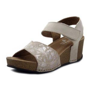 SANDALE - NU-PIEDS Sandale nu-pieds pour femme, cuir beige, talon ... 18e7cbdb8f64