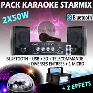 PACK SONO KARAOKE BLUETOOTH USB + MICRO + AMPLI + ENCEINTES