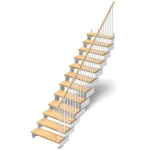 ESCALIER Escalier droit 12 marches en bois massif naturel -