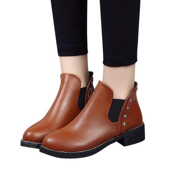 Bottines Amyamyi Cuir Ronde En Bottes Plates Rivets Chaussures Wong1409 Toe femmes Martain gxwrngTOA