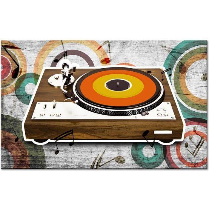 Tableau Déco tourne Disque Vintage - Vintage - 80x50 cm