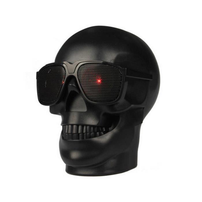 Enceinte Portable Stéréo Sans Fil De Bluetooth Crâne Avec Le Son Hd Et Bureau À La Maison Basse Noir