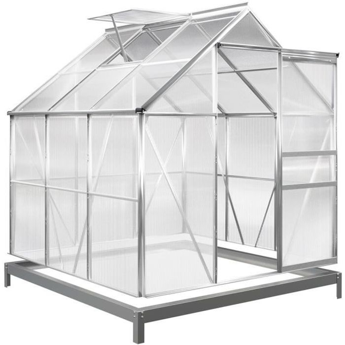 Serre de jardin 5,85m³ - 1 fenêtre et fondation en acier plantation ...