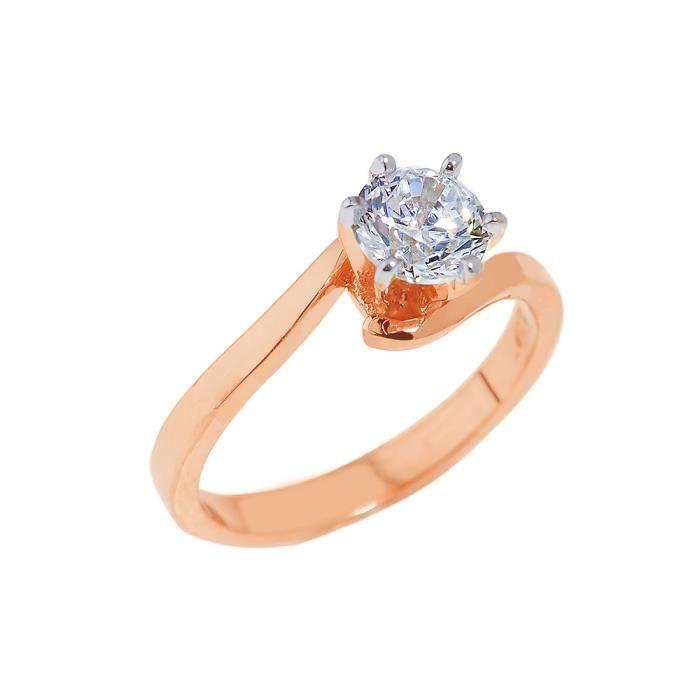 Bague Femme 14 ct Or rose 585/1000 Rond Oxyde de Zirconium