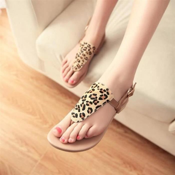 @GLAM Spring and Summer Fashion Chaussures Femme avec Flat Leopard Toe Sandales Femme 48FUGBF42e