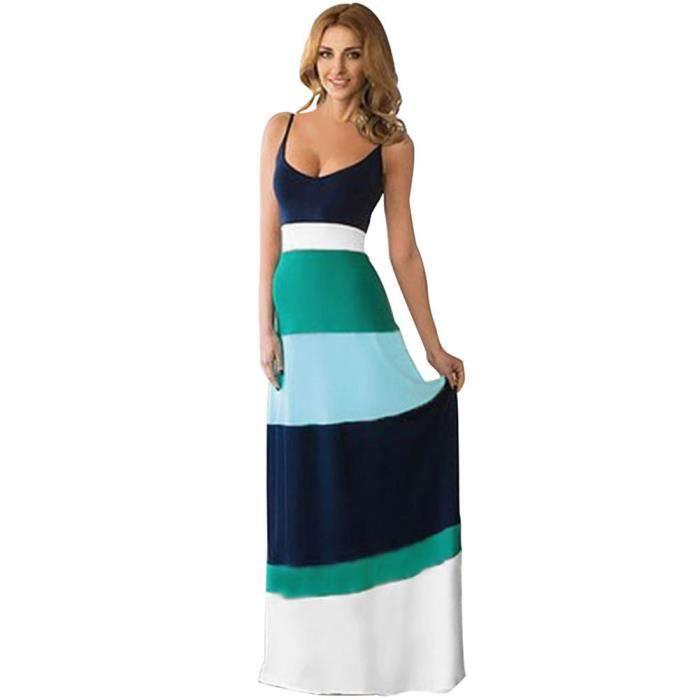 femme robe longue chic couleur de robe ray e sans manches taille haute princesse robe de. Black Bedroom Furniture Sets. Home Design Ideas