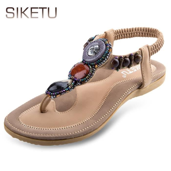 SIKETU dames Bohême strass conception Glissement sandales de plage bascule IaVX60GT6t