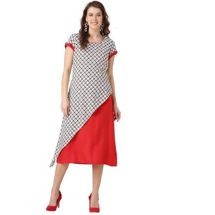 Femmes géométrique rouge et blanc cassé Une ligne Robe Rayon 1VEYRK Taille-34