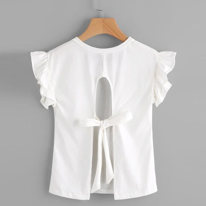 Topblanc Volantées Femmes shirt Mode Lordose Tie À Backless Manches T waqS4wx