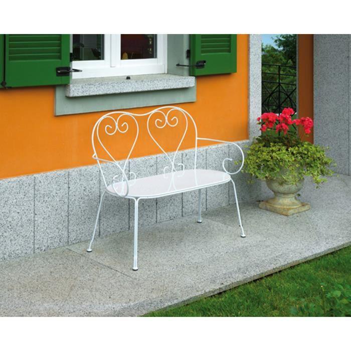 Banc de jardin Blanc, L106 x H88 x P54 cm