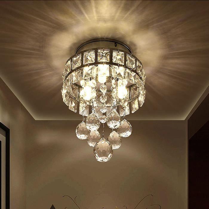 Suspension E14 Moderne PendentifChaude Douille Lumière Éclairage Lustre Cristal Luminaire Plafonnier Chrome OXuPZik